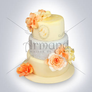 Tort nunta ivory-argintiu Flori portocalii