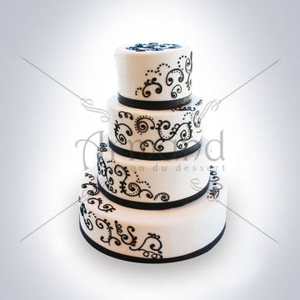 Tort de nunta Alb cu imprimeuri spiralate