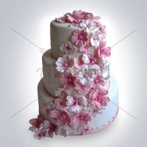 Tort de nunta alb Cascada floricele albe si roz