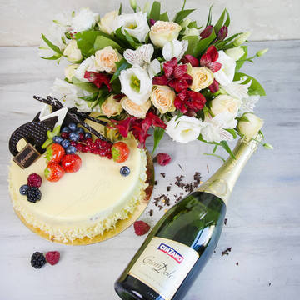 Pachet Cadou Tort si Flori de primavara