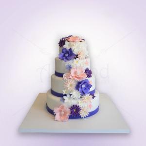 Tort nunta Flori roz, mov, lila