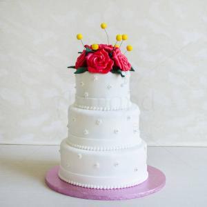 Tort nunta Buchet trandafiri rosii
