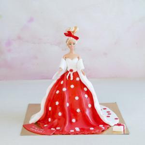 Tort pentru fetita Barbie rochie rosie