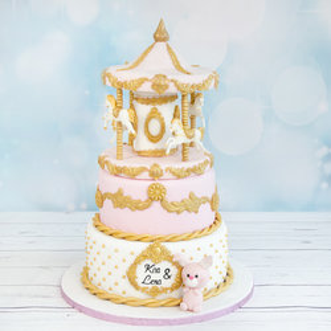 Tort Botez Carusel Roz Pastel