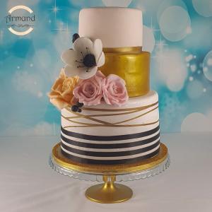 Tort Nunta auriu cu negru cu flori