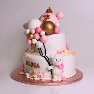 Tort ursulet si baloane colorate