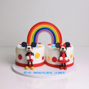 Tort curcubeu Minnie si Mickey