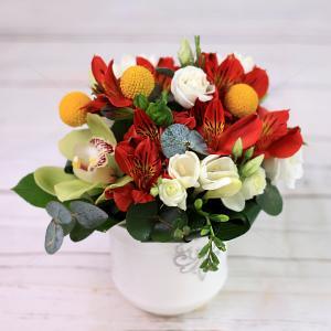 Aranjament floral Veselie in Culori in vas ceramic