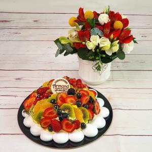 Pachet cadou Pavlova si aranjament floral Veselie in Culori