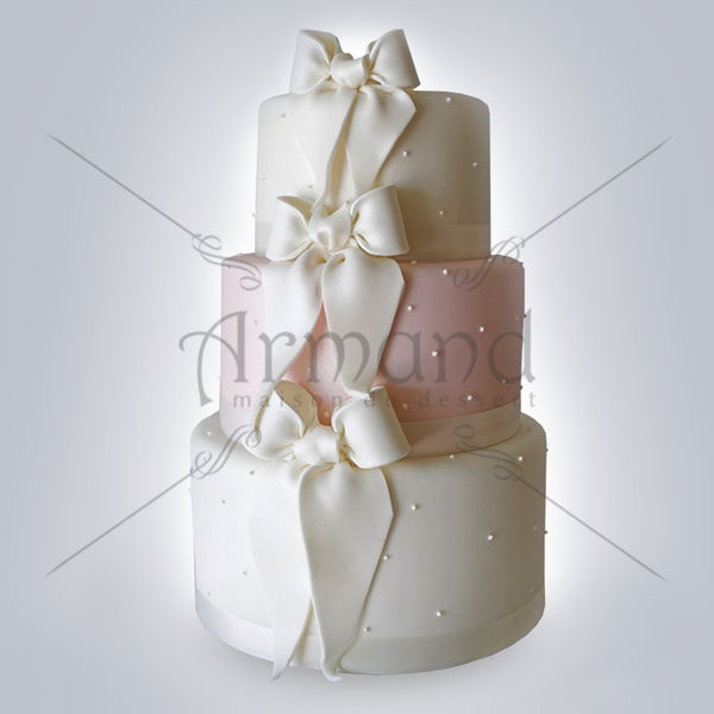 Tort nunta alb si roz pal cu fundite