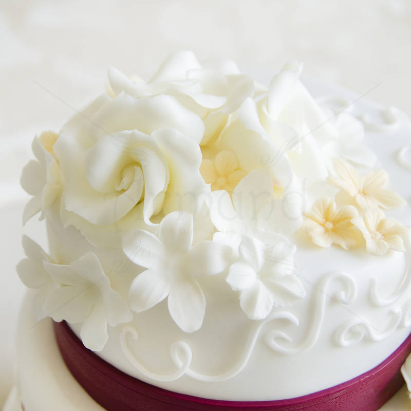 Tort de nunta Trandafiri albi si bentita maro