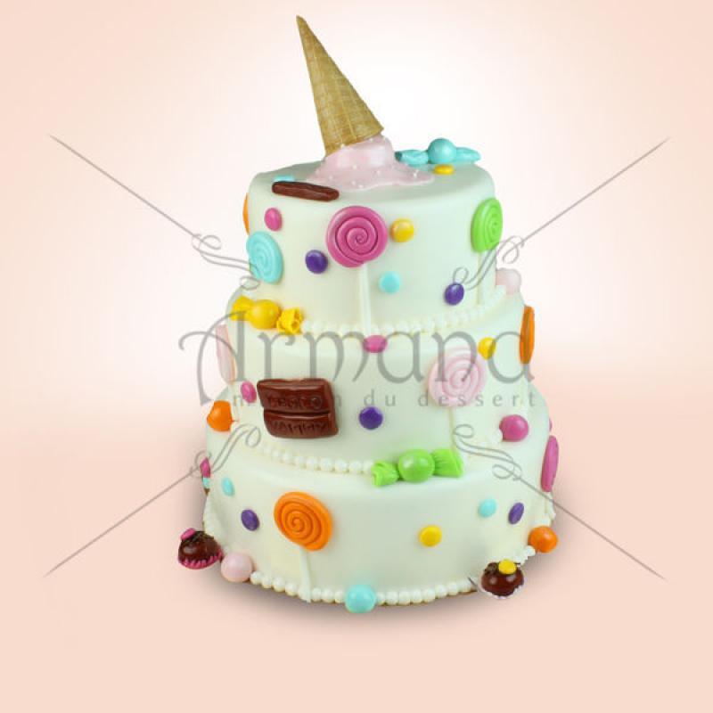 Tort Cornet inghetata, bomboane si acadele