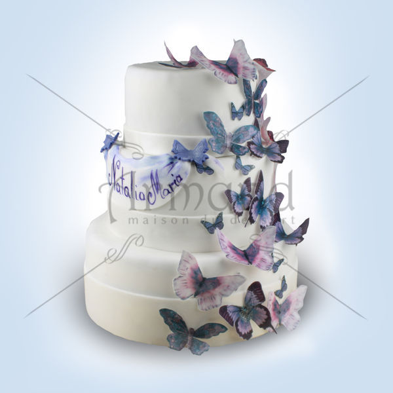 Tort Alb imaculat si fluturi