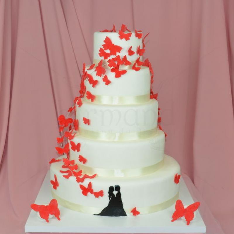 Tort de nunta Fluturi rosii