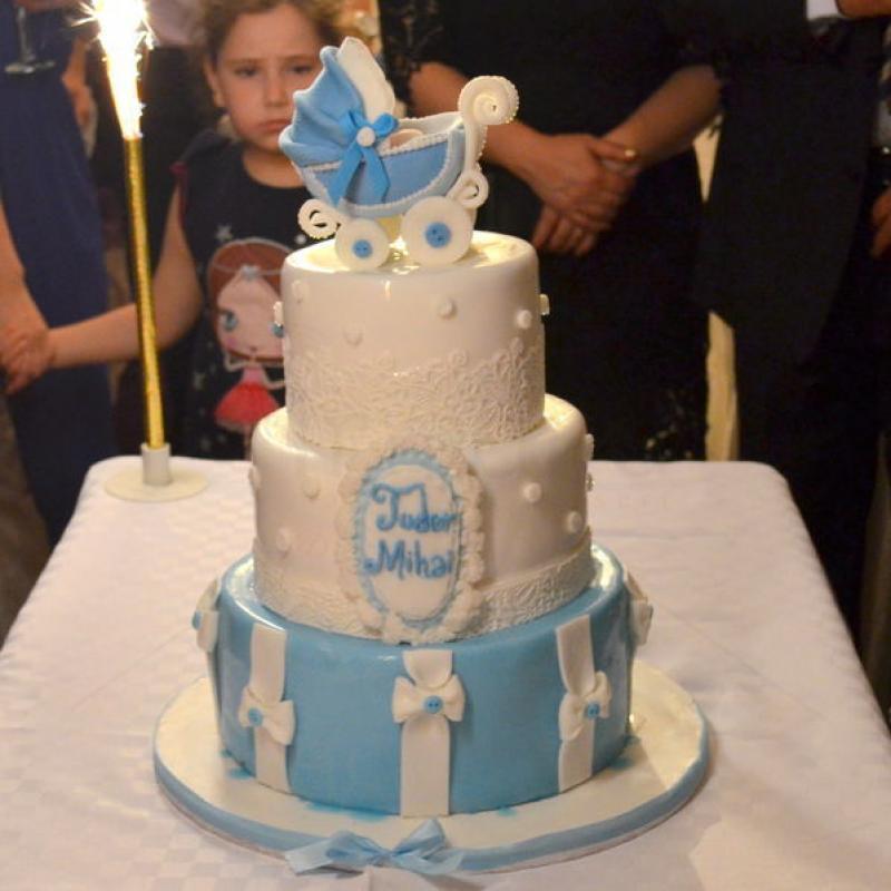 Tort Botez Carucior bleu