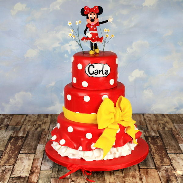 Tort Botez Minnie Mouse rosu