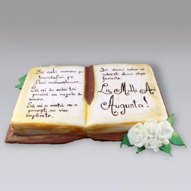 Tort Carte deschisa cu trandafiri albi