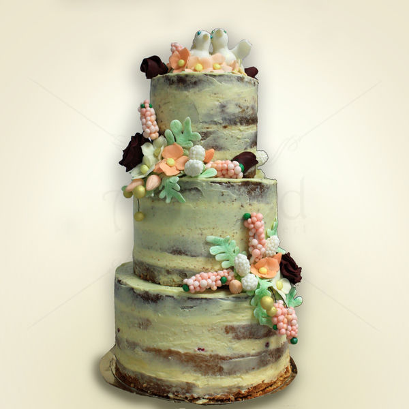 Naked cake love birds