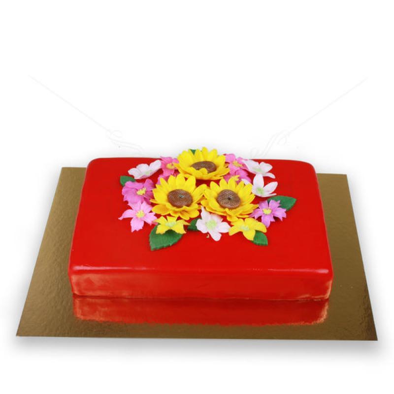 Tort Rosu cu floarea soarelui