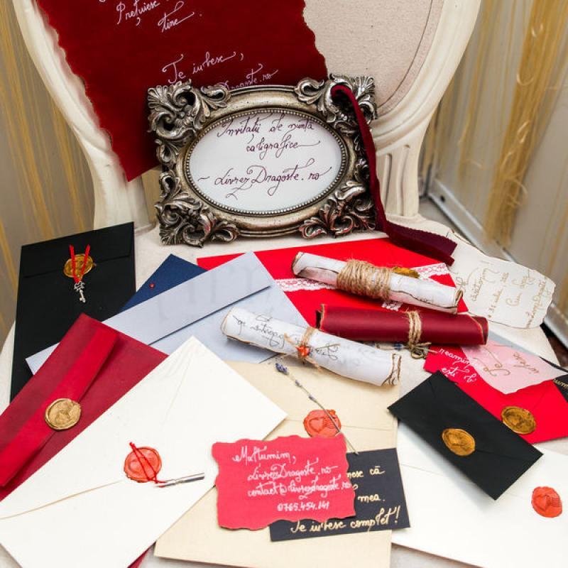 Invitatii de nunta scrisori vintage