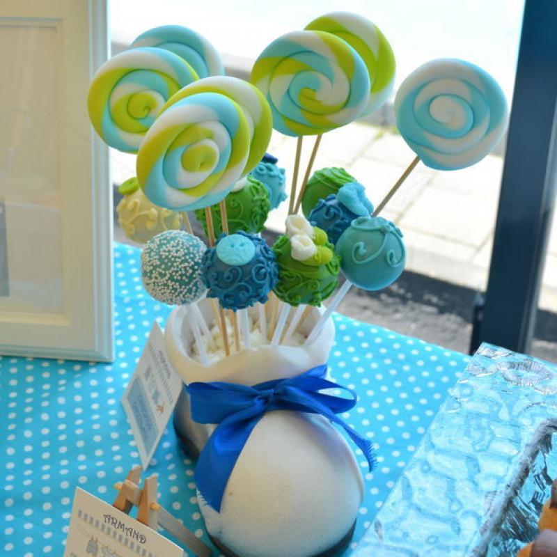 Candy Bar Botez Bleu, verde si alb