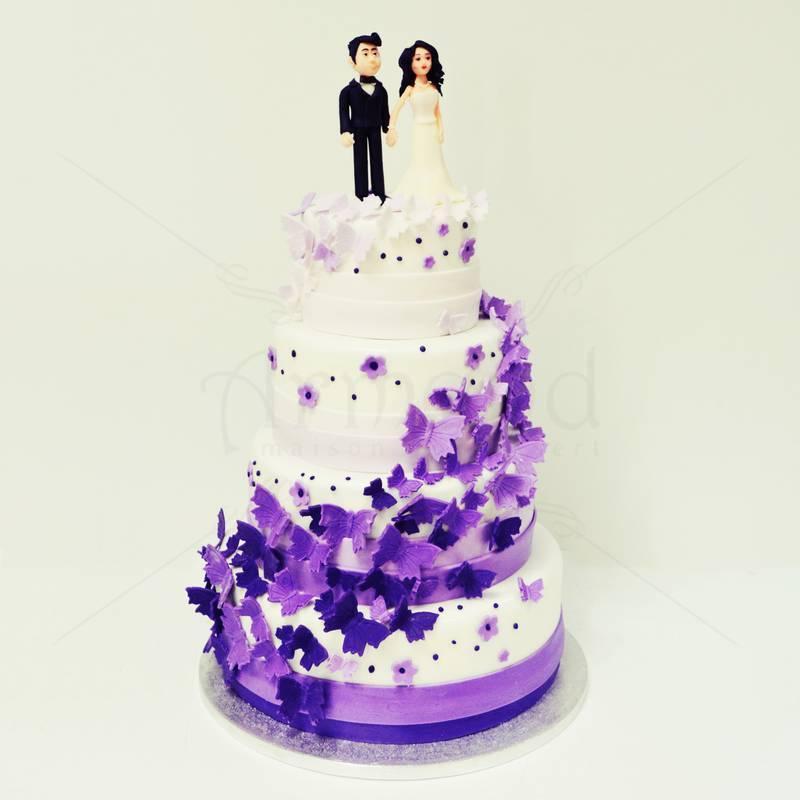 Tort nunta Fluturi in Degradee mov