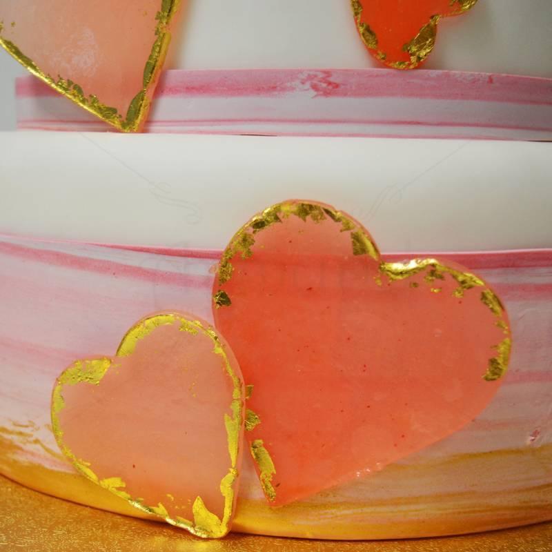 Tort Inimioare isomalt si foita de aur