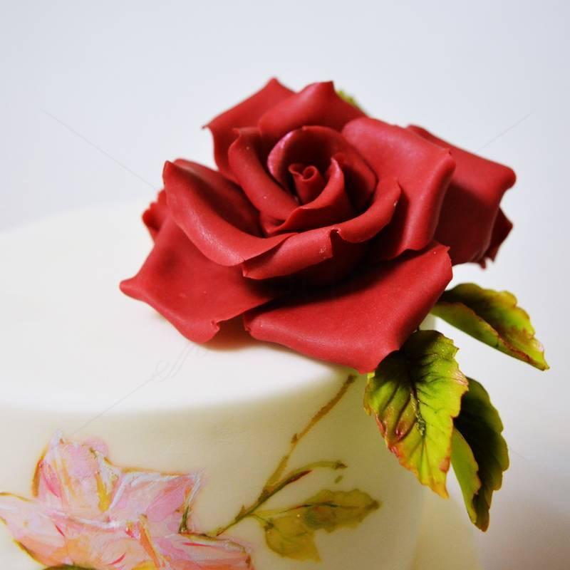 Tort Nunta Trandafiri pictati