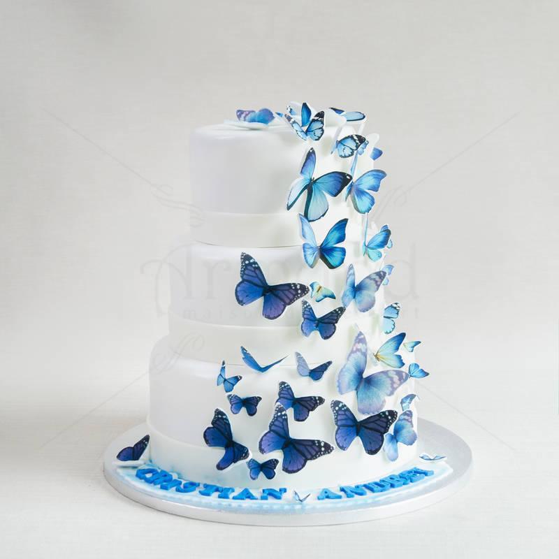 Tort nunta Fluturi albastri
