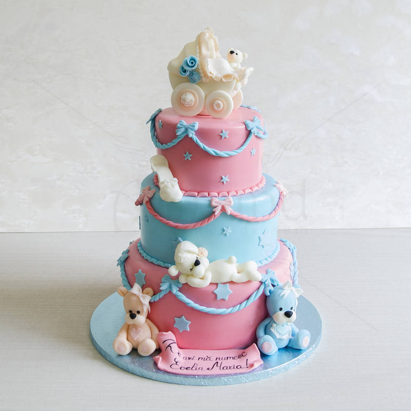 Tort botez Ursuleti rozsi bleu