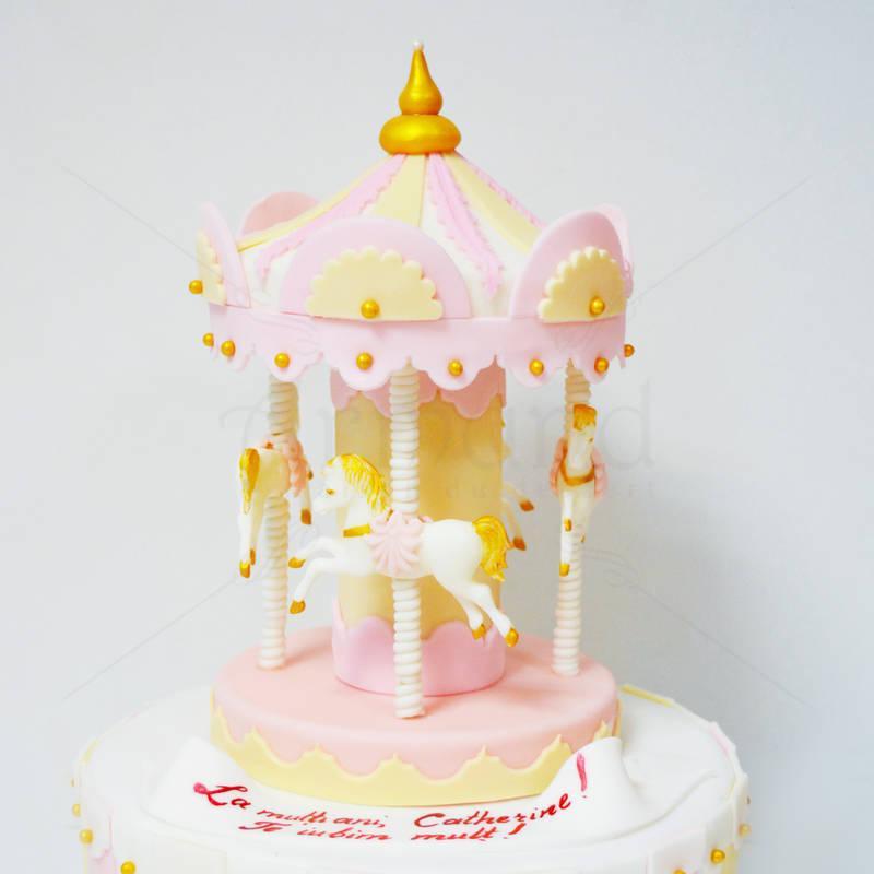 Tort Carusel Auriu - roz