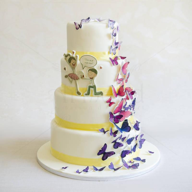 Tort de nunta Fluturi si siluete