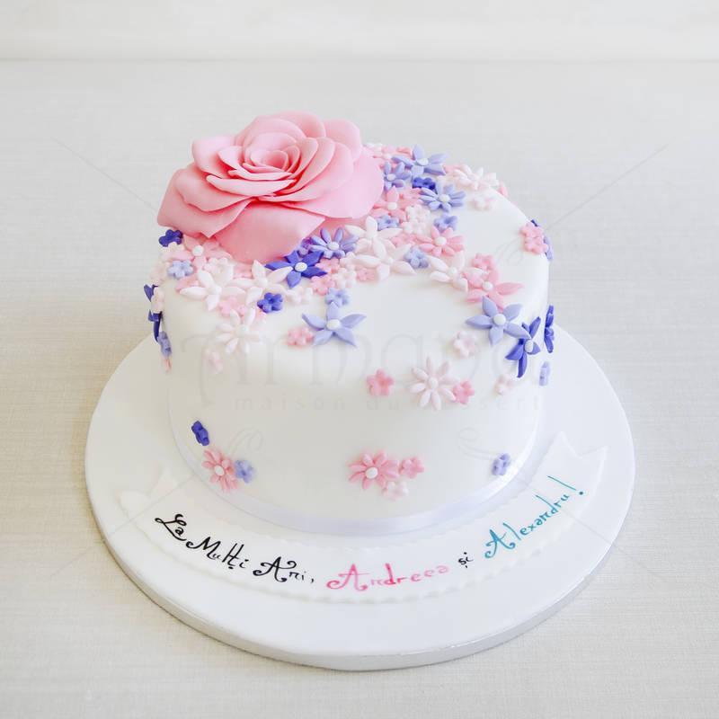Tort Aniversar flori pastel