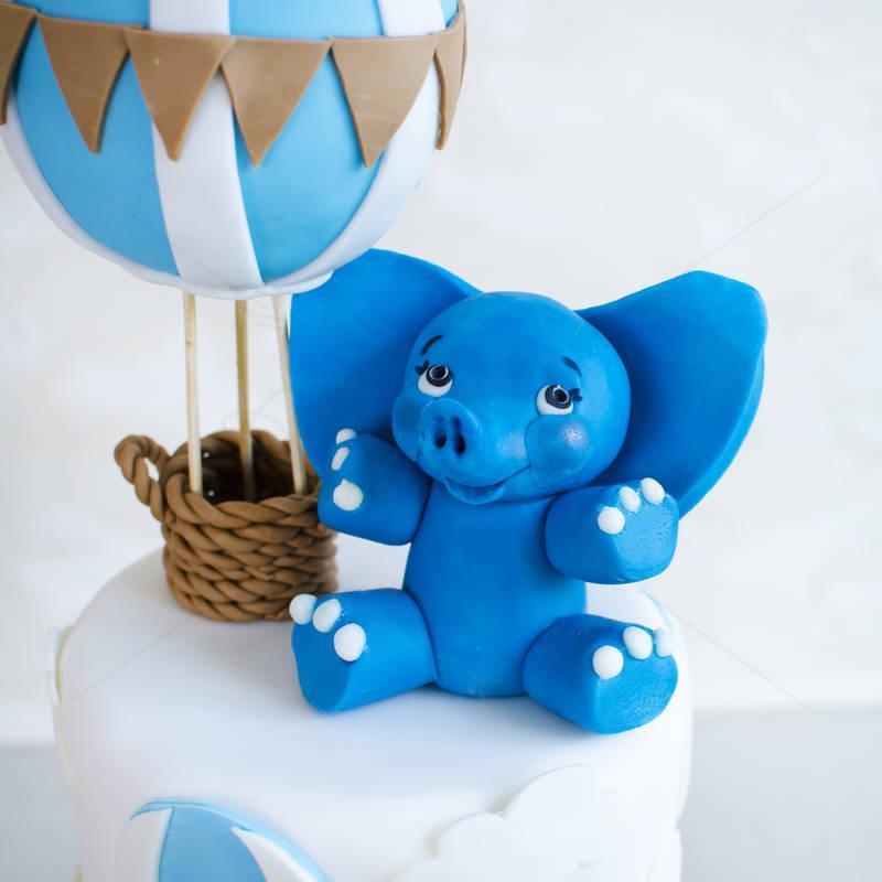 Tort Elefantel albastru si baloane