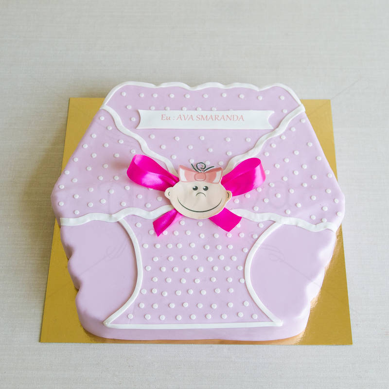 Tort Pampers bebe roz