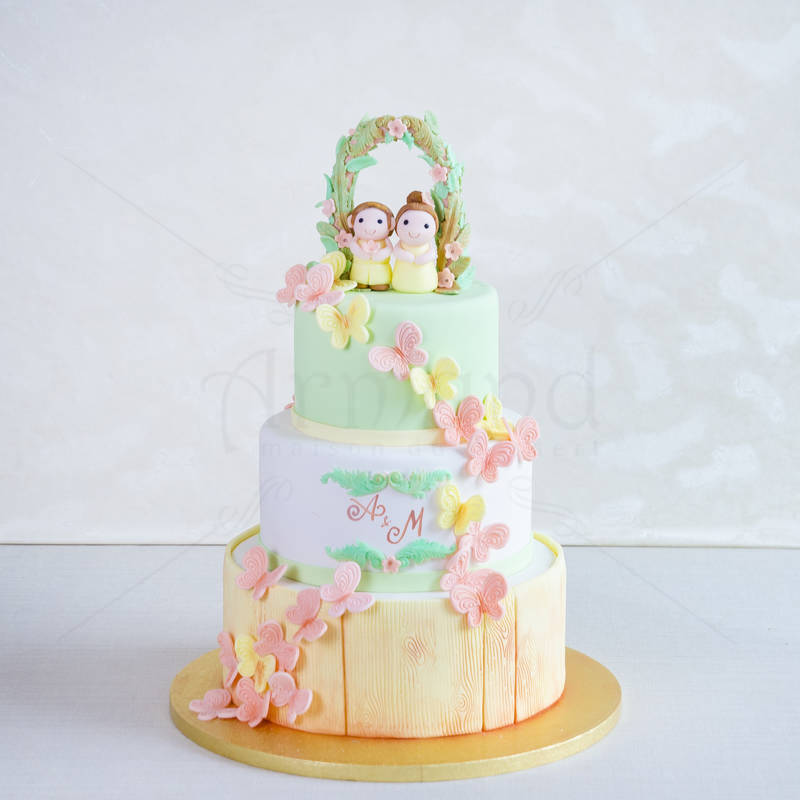 Tort Fluturi culori pastel