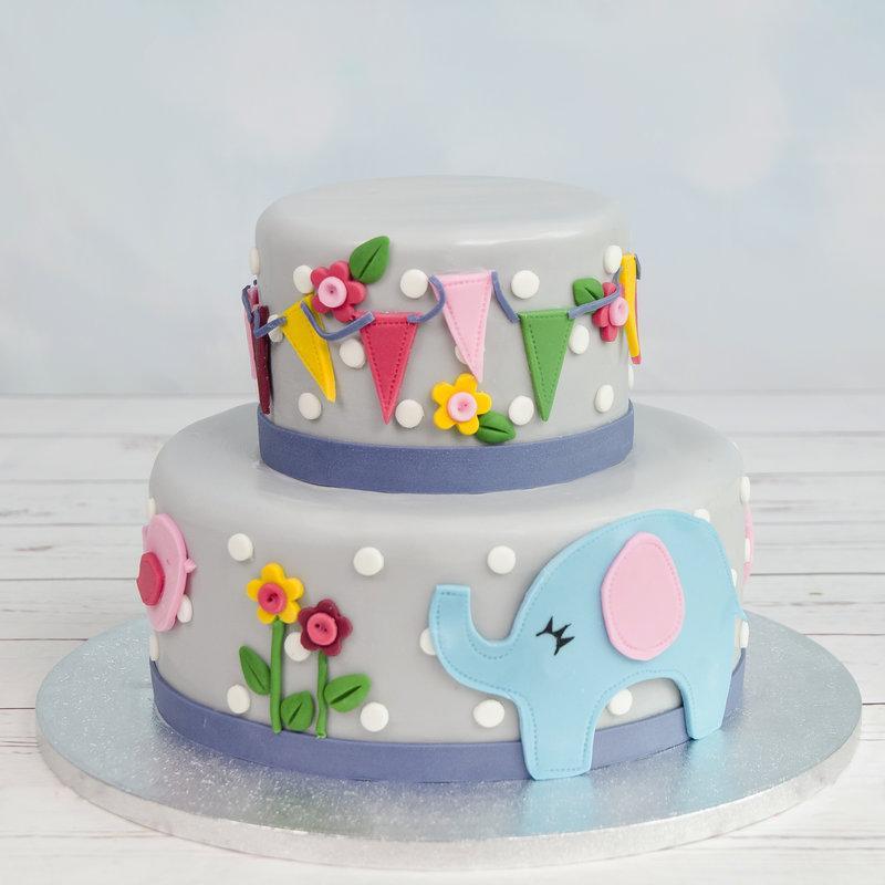 Tort figurina Elefantel si floricele