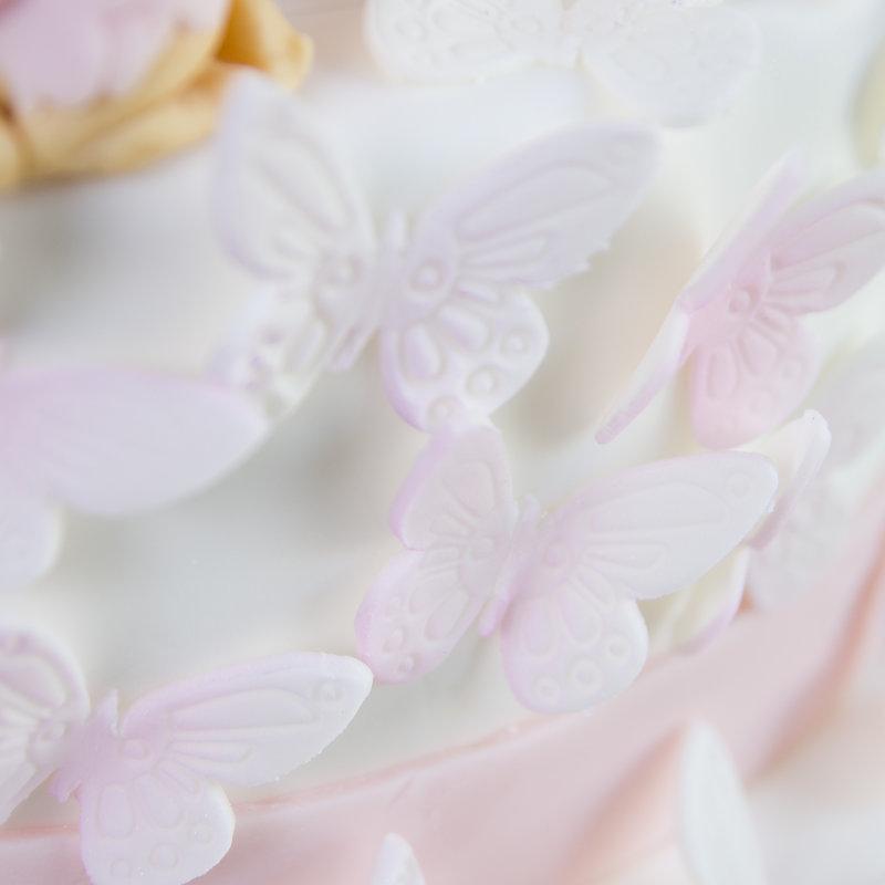 Tort Botez Fluturi Roz Pal si Carucior
