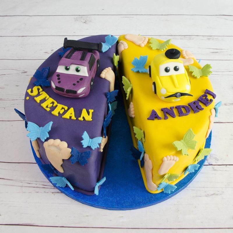Tort pentru Gemeni Masinute Colorate