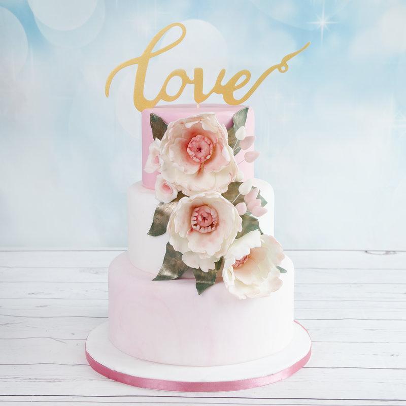Tort de nunta Roz Pastel Love