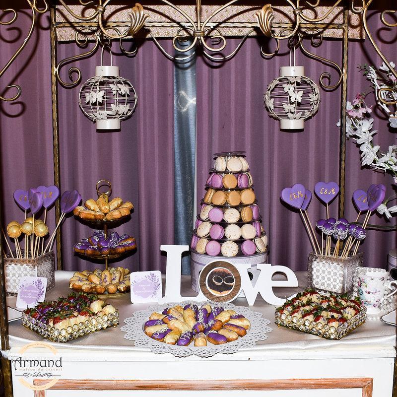 Candy bar nunta nuante mov si lila