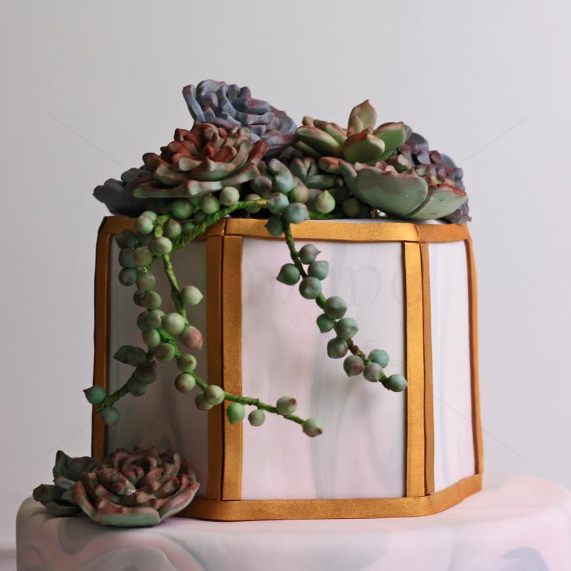 Tort Vintage Green Flowers