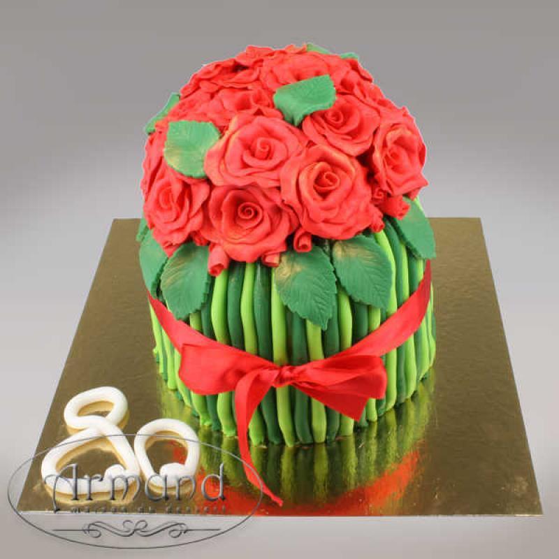 Tort Buchet trandafiri rosii