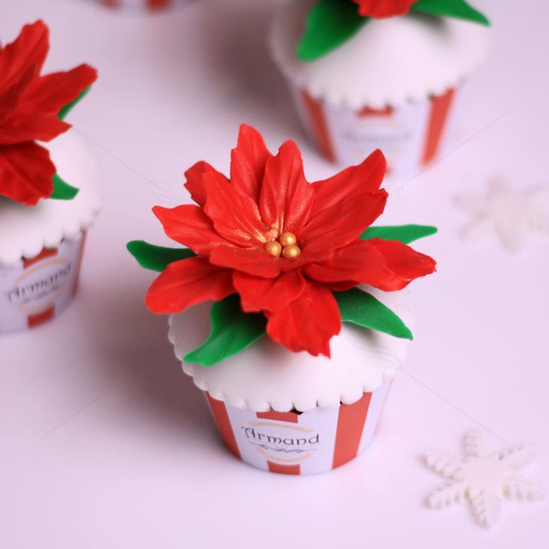 Cupcake personalizat Floare de Craciun