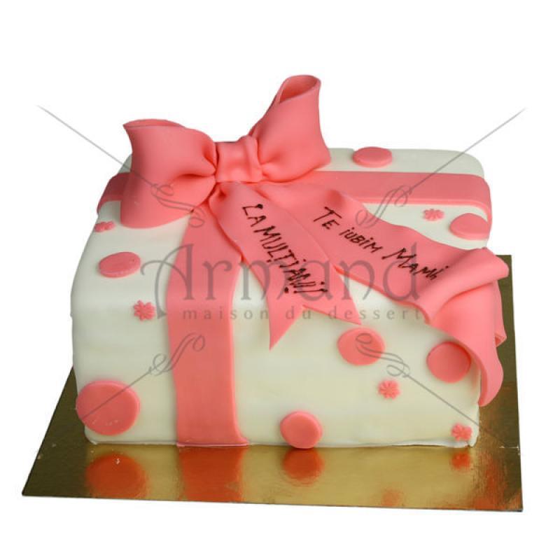 Tort Cadou alb cu funda roz/somon