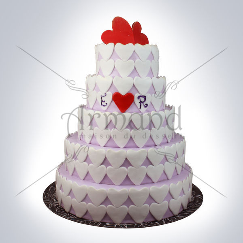 Tort de nunta degrade lila Inimioare