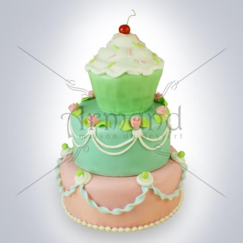 Tort de nunta Cupcakes (peach & turquoise)